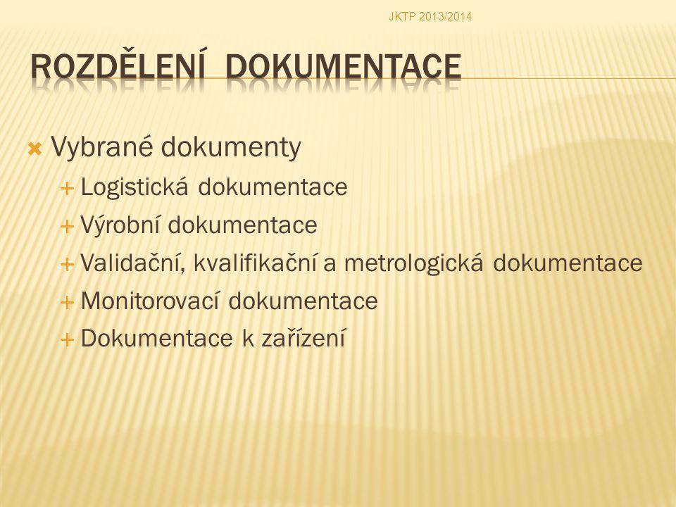  Vybrané dokumenty  Logistická dokumentace  Výrobní dokumentace  Validační, kvalifikační a metrologická dokumentace  Monitorovací dokumentace  D
