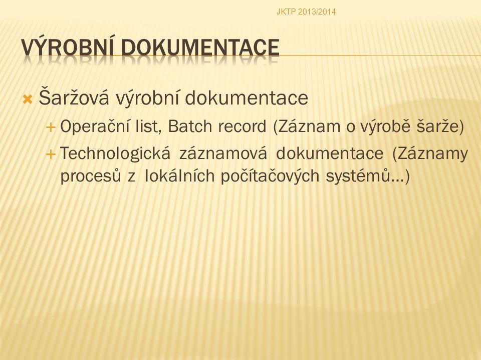  Šaržová výrobní dokumentace  Operační list, Batch record (Záznam o výrobě šarže)  Technologická záznamová dokumentace (Záznamy procesů z lokálních