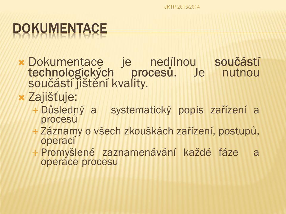  Dokumentace je nedílnou součástí technologických procesů. Je nutnou součástí jištění kvality.  Zajišťuje:  Důsledný a systematický popis zařízení
