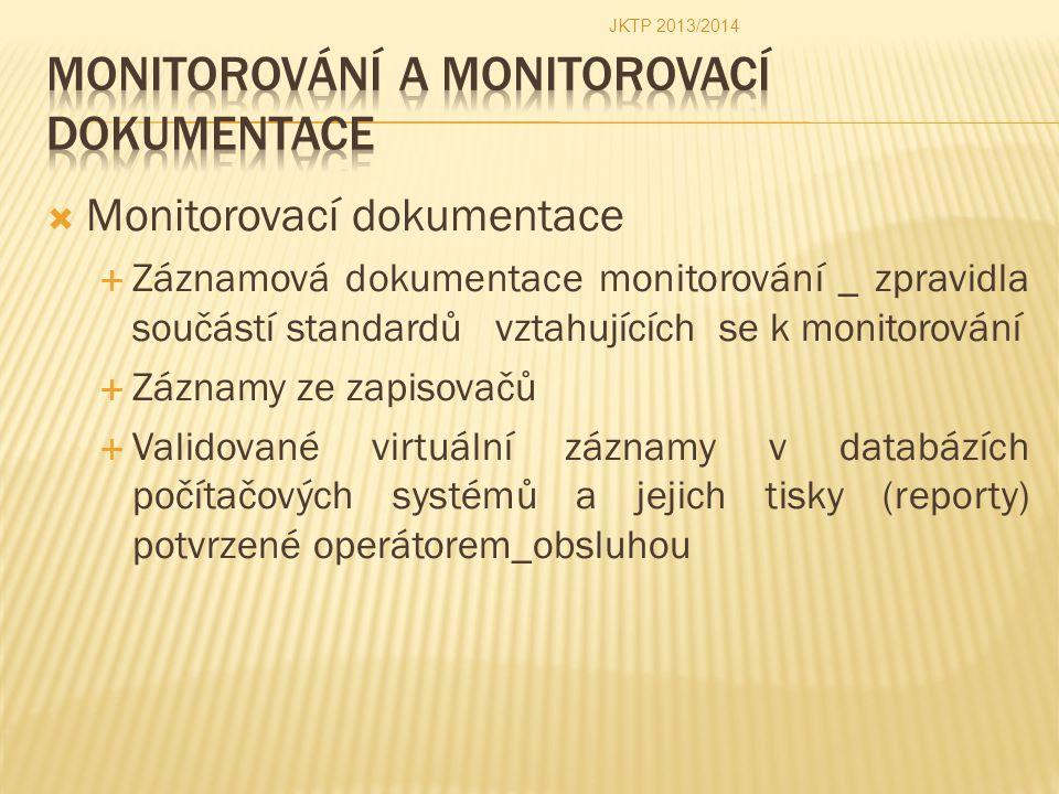  Monitorovací dokumentace  Záznamová dokumentace monitorování _ zpravidla součástí standardů vztahujících se k monitorování  Záznamy ze zapisovačů