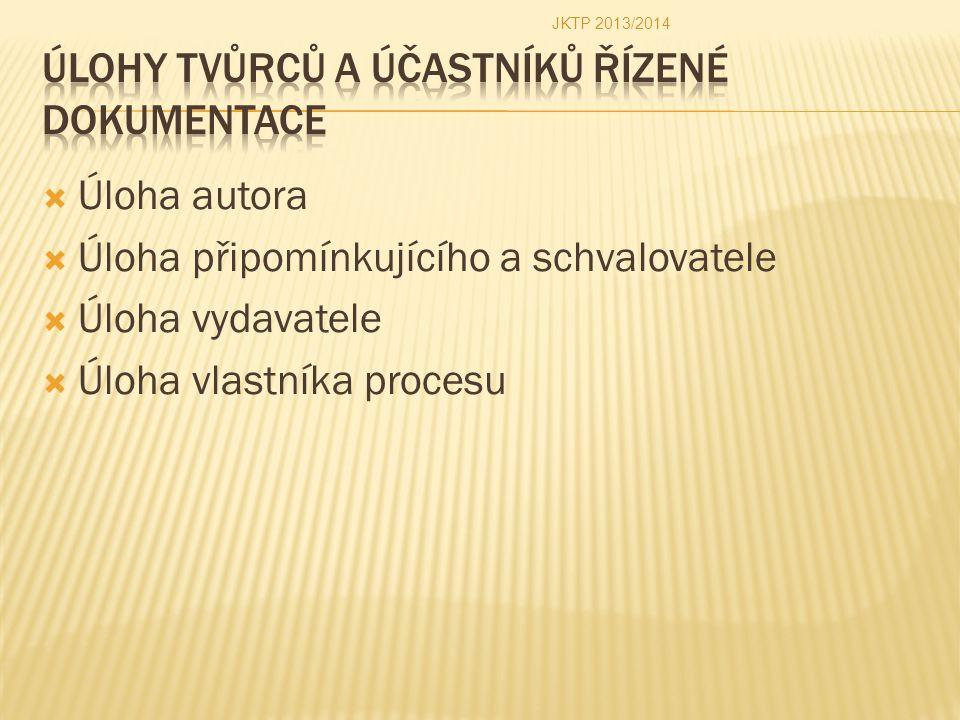  Úloha autora  Úloha připomínkujícího a schvalovatele  Úloha vydavatele  Úloha vlastníka procesu JKTP 2013/2014
