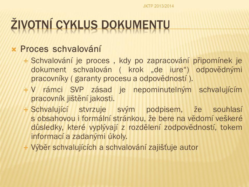 """ Proces schvalování  Schvalování je proces, kdy po zapracování připomínek je dokument schvalován ( krok """"de iure"""") odpovědnými pracovníky ( garanty"""