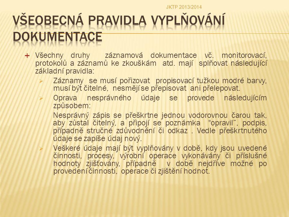  Všechny druhy záznamová dokumentace vč. monitorovací, protokolů a záznamů ke zkouškám atd. mají splňovat následující základní pravidla:  Záznamy se