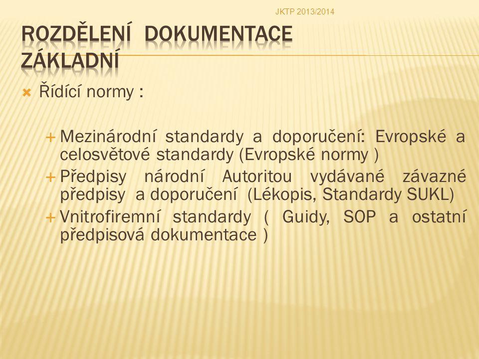  Řídící normy :  Mezinárodní standardy a doporučení: Evropské a celosvětové standardy (Evropské normy )  Předpisy národní Autoritou vydávané závazn