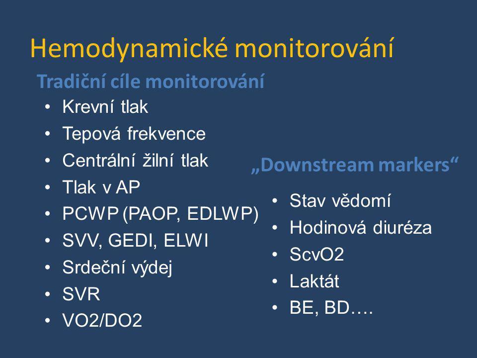 Hemodynamické monitorování Tradiční cíle monitorování •Krevní tlak •Tepová frekvence •Centrální žilní tlak •Tlak v AP •PCWP (PAOP, EDLWP) •SVV, GEDI,