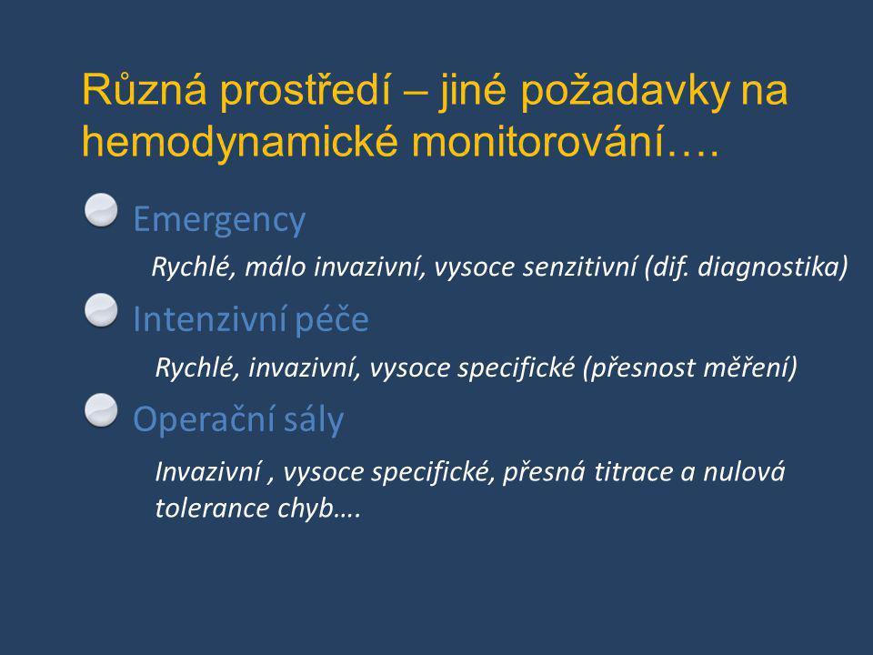 Různá prostředí – jiné požadavky na hemodynamické monitorování…. Emergency Intenzivní péče Operační sály Rychlé, invazivní, vysoce specifické (přesnos