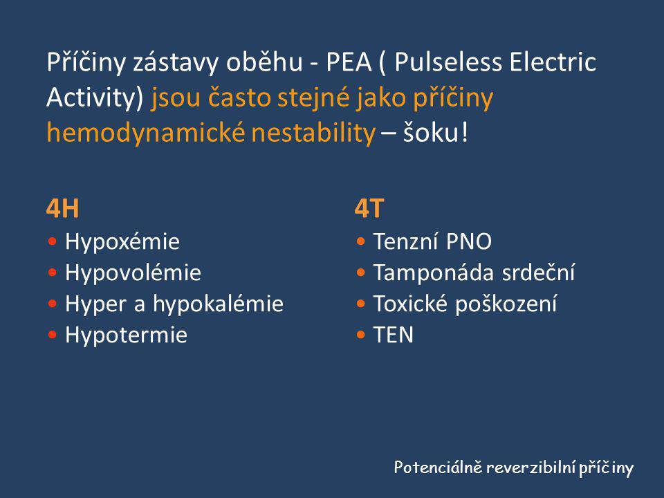 4H • Hypoxémie • Hypovolémie • Hyper a hypokalémie • Hypotermie Potenciálně reverzibilní příčiny 4T • Tenzní PNO • Tamponáda srdeční • Toxické poškoze