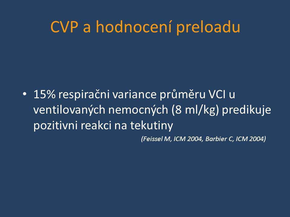CVP a hodnocení preloadu • 15% respiračni variance průměru VCI u ventilovaných nemocných (8 ml/kg) predikuje pozitivni reakci na tekutiny (Feissel M,