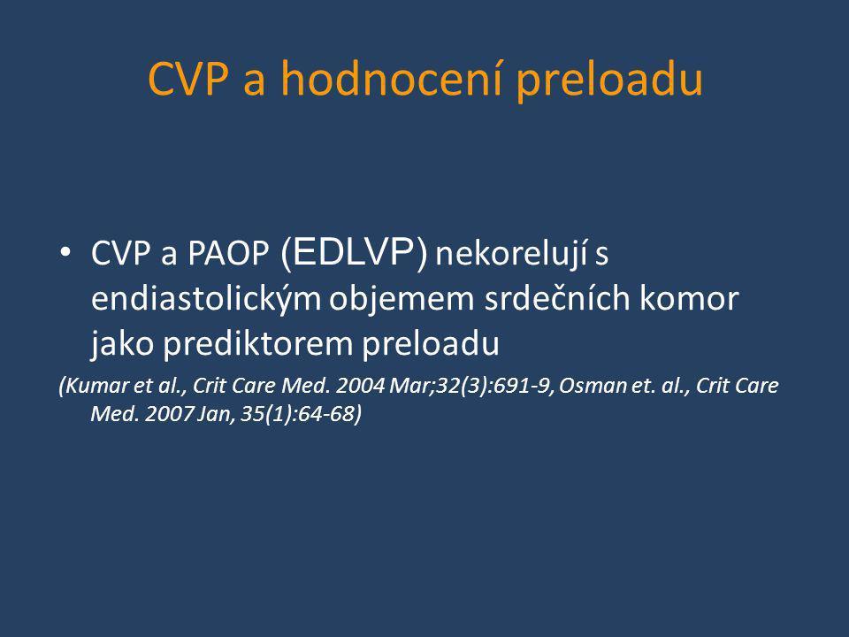 CVP a hodnocení preloadu • CVP a PAOP (EDLVP) nekorelují s endiastolickým objemem srdečních komor jako prediktorem preloadu (Kumar et al., Crit Care M
