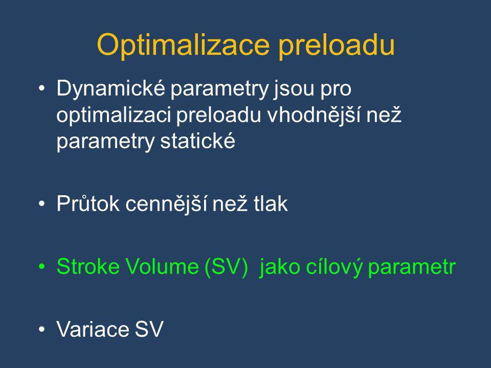 •Dynamické parametry jsou pro optimalizaci preloadu vhodnější než parametry statické •Průtok cennější než tlak •Stroke Volume (SV) jako cílový paramet
