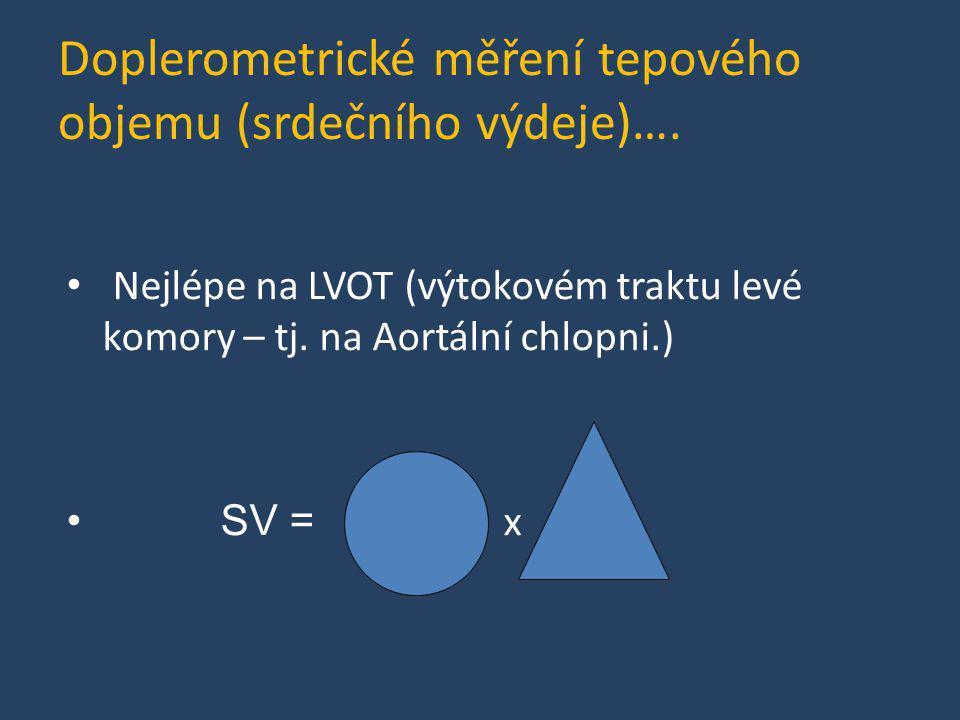Doplerometrické měření tepového objemu (srdečního výdeje)…. • Nejlépe na LVOT (výtokovém traktu levé komory – tj. na Aortální chlopni.) • SV = x