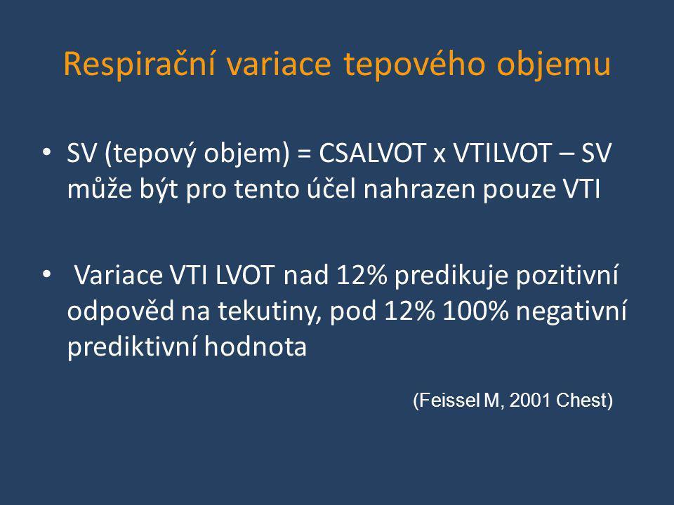 Respirační variace tepového objemu • SV (tepový objem) = CSALVOT x VTILVOT – SV může být pro tento účel nahrazen pouze VTI • Variace VTI LVOT nad 12%