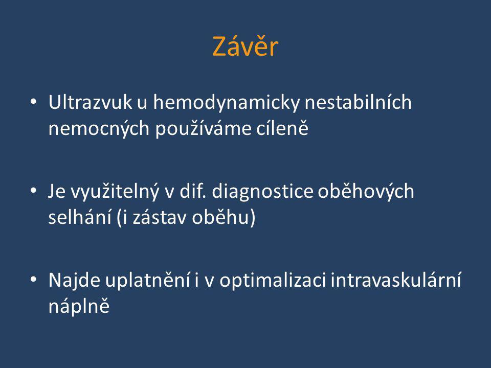 Závěr • Ultrazvuk u hemodynamicky nestabilních nemocných používáme cíleně • Je využitelný v dif. diagnostice oběhových selhání (i zástav oběhu) • Najd