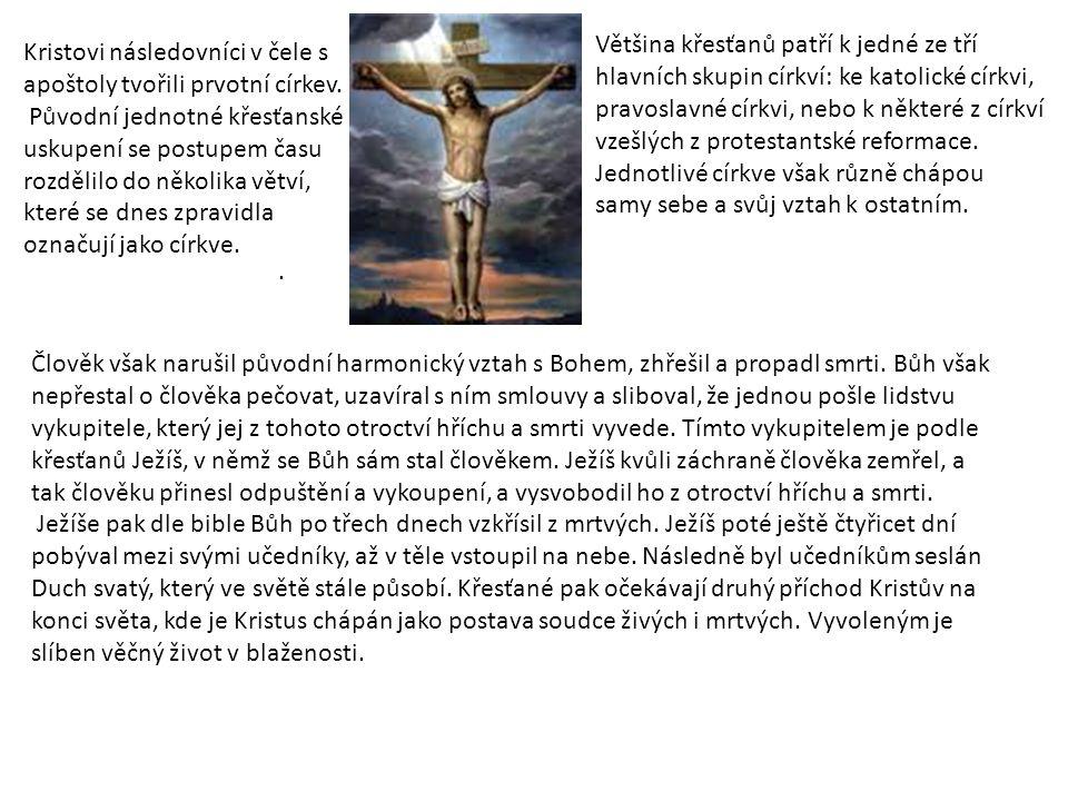 Kristovi následovníci v čele s apoštoly tvořili prvotní církev. Původní jednotné křesťanské uskupení se postupem času rozdělilo do několika větví, kte