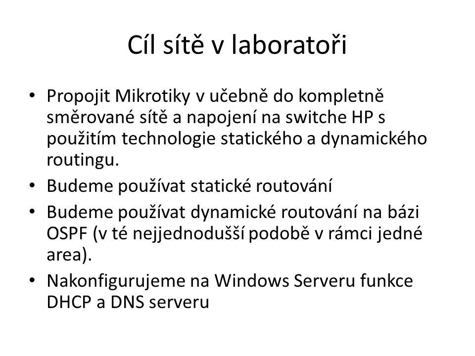 Cíl sítě v laboratoři • Propojit Mikrotiky v učebně do kompletně směrované sítě a napojení na switche HP s použitím technologie statického a dynamické