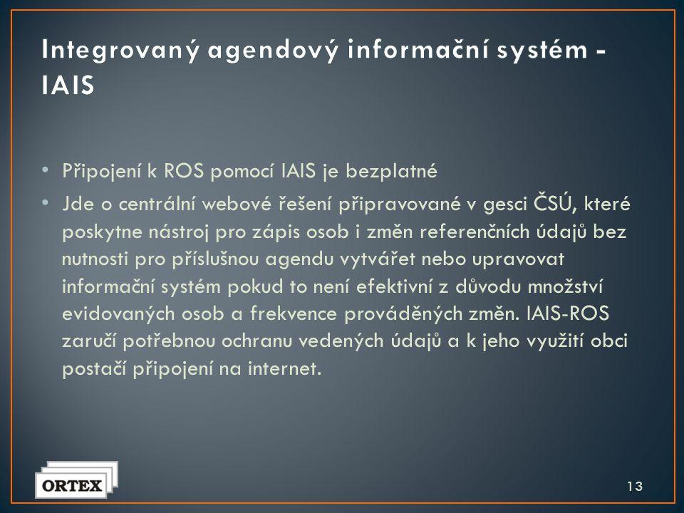 • Nutno rozhodnout o způsobu připojení k systému ZR • Buď upravit svůj agendový systém pro komunikaci s ROS • Nebo využít IAIS • Termín: do 31.3.2012