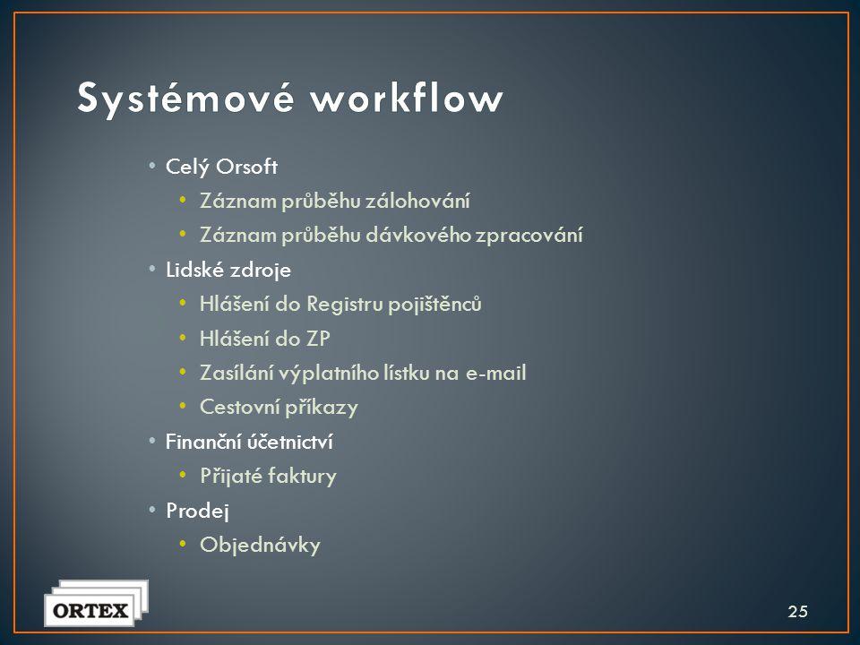 24 Uživatelské workflow navrhuje sám uživatel využívá k tomu nástrojů pro workflow Systémové workflow připravují autoři programů je integrováno do jed