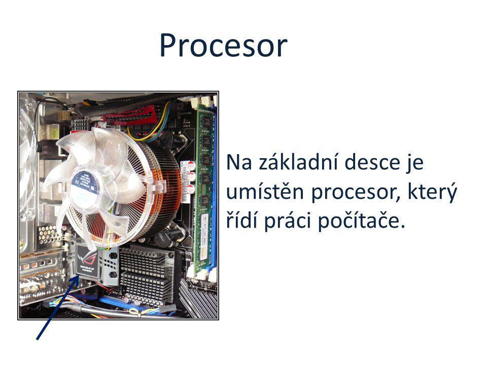 Na základní desce je umístěn procesor, který řídí práci počítače. Procesor