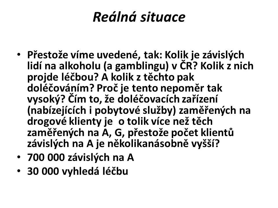 Reálná situace • Přestože víme uvedené, tak: Kolik je závislých lidí na alkoholu (a gamblingu) v ČR? Kolik z nich projde léčbou? A kolik z těchto pak