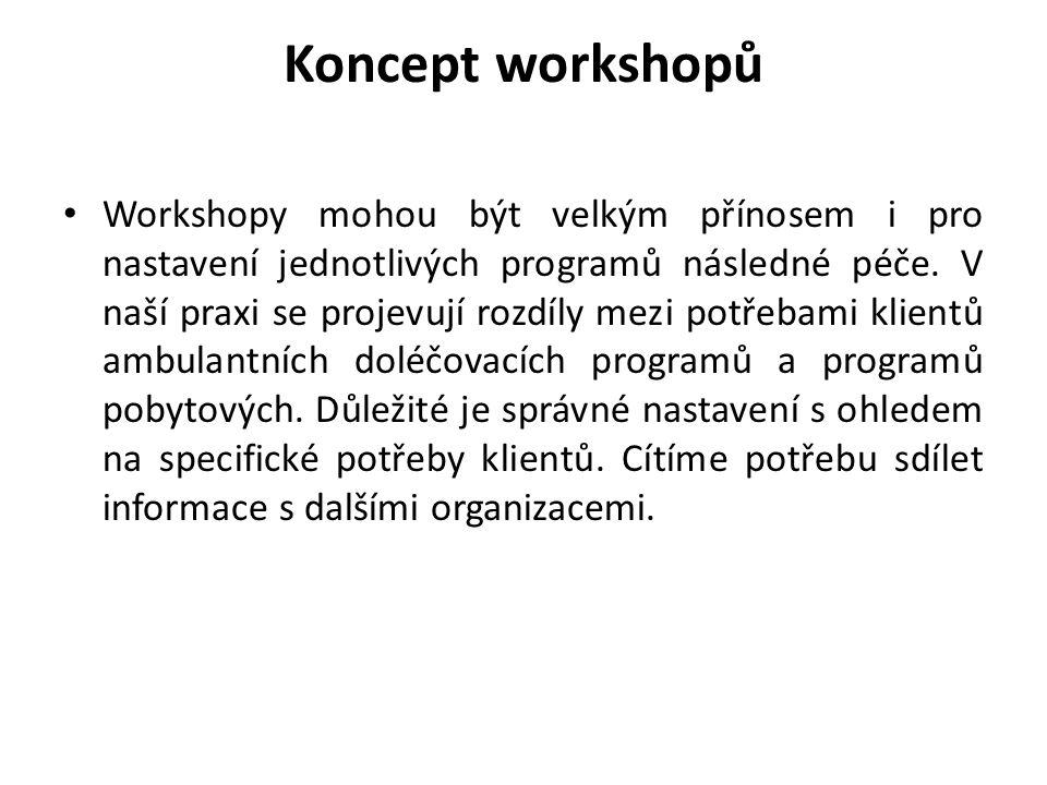 Koncept workshopů • Workshopy mohou být velkým přínosem i pro nastavení jednotlivých programů následné péče. V naší praxi se projevují rozdíly mezi po