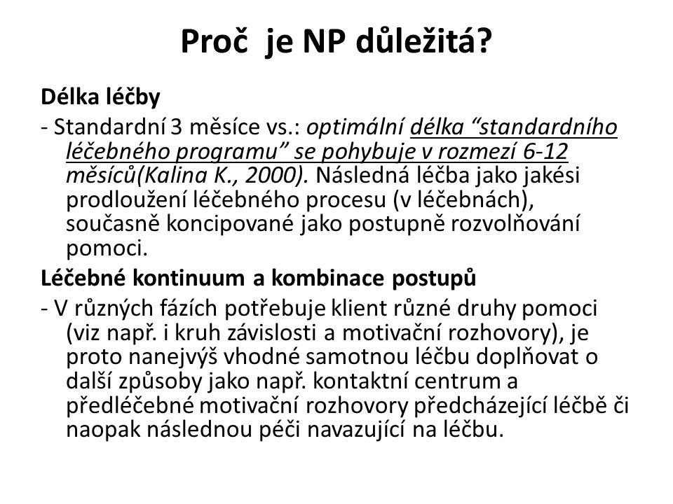 """Proč je NP důležitá? Délka léčby - Standardní 3 měsíce vs.: optimální délka """"standardního léčebného programu"""" se pohybuje v rozmezí 6-12 měsíců(Kalina"""