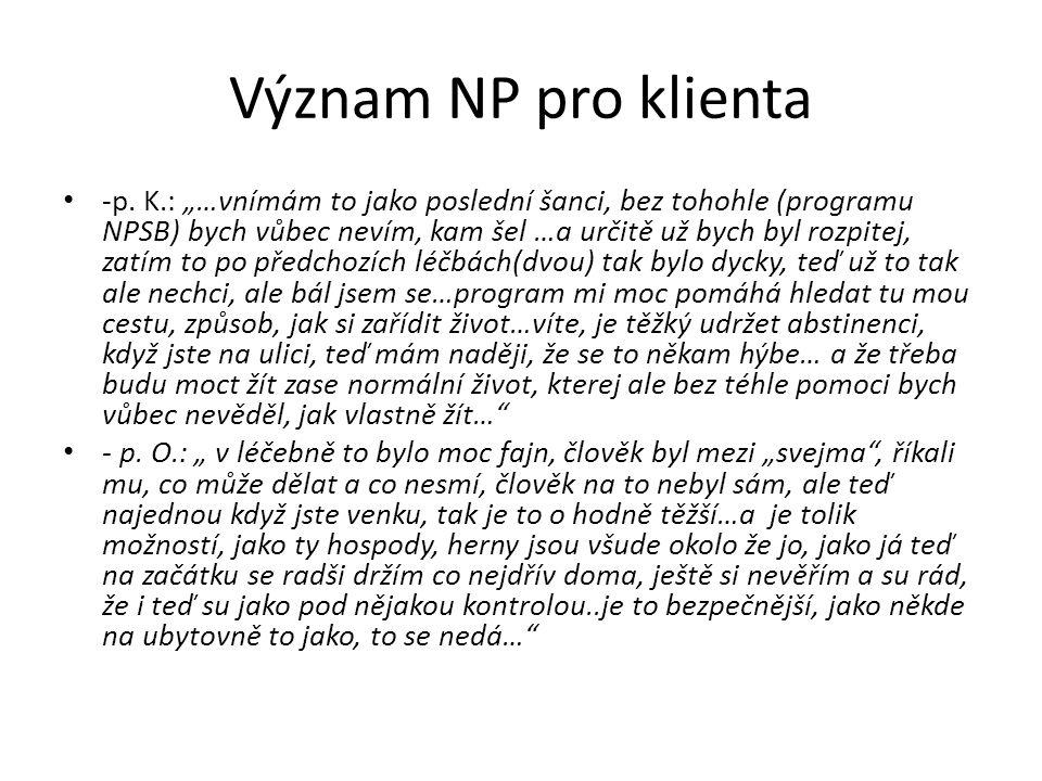 """Význam NP pro klienta • -p. K.: """"…vnímám to jako poslední šanci, bez tohohle (programu NPSB) bych vůbec nevím, kam šel …a určitě už bych byl rozpitej,"""
