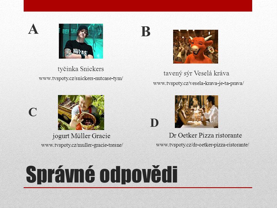 Správné odpovědi A tyčinka Snickers B tavený sýr Veselá kráva www.tvspoty.cz/snickers-nutcase-tym/ www.tvspoty.cz/vesela-krava-je-ta-prava/ www.tvspot