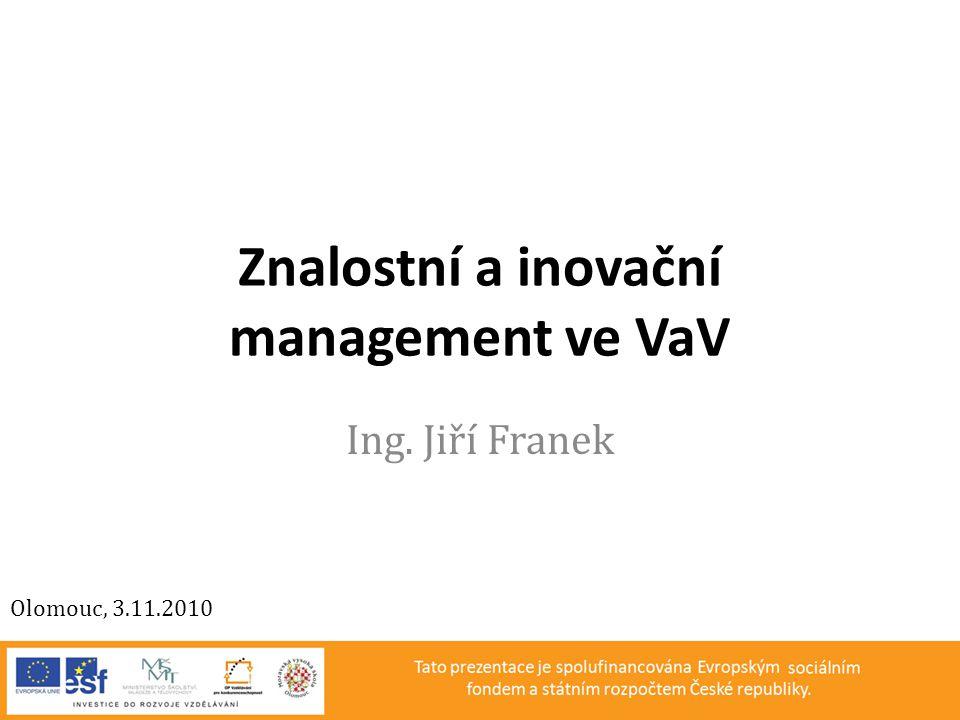 Znalostní a inovační management ve VaV Ing. Jiří Franek Olomouc, 3.11.2010
