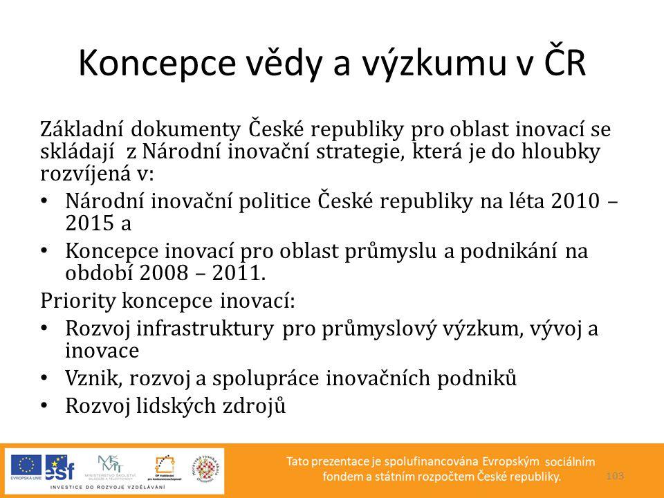 Koncepce vědy a výzkumu v ČR Základní dokumenty České republiky pro oblast inovací se skládají z Národní inovační strategie, která je do hloubky rozví