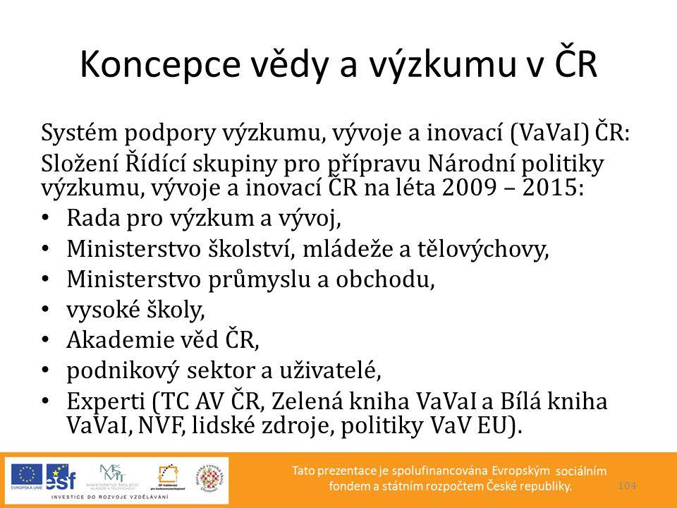 Koncepce vědy a výzkumu v ČR Systém podpory výzkumu, vývoje a inovací (VaVaI) ČR: Složení Řídící skupiny pro přípravu Národní politiky výzkumu, vývoje