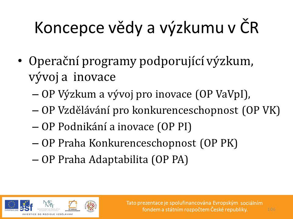Koncepce vědy a výzkumu v ČR • Operační programy podporující výzkum, vývoj a inovace – OP Výzkum a vývoj pro inovace (OP VaVpI), – OP Vzdělávání pro k