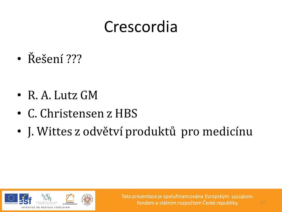 Crescordia • Řešení ??? • R. A. Lutz GM • C. Christensen z HBS • J. Wittes z odvětví produktů pro medicínu 27