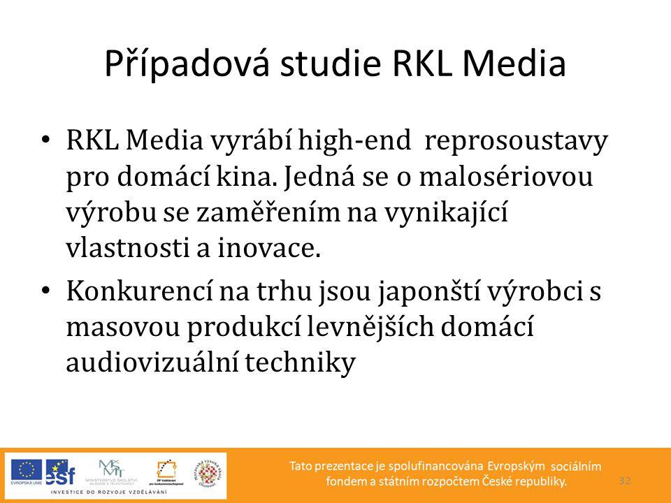 Případová studie RKL Media • RKL Media vyrábí high-end reprosoustavy pro domácí kina. Jedná se o malosériovou výrobu se zaměřením na vynikající vlastn