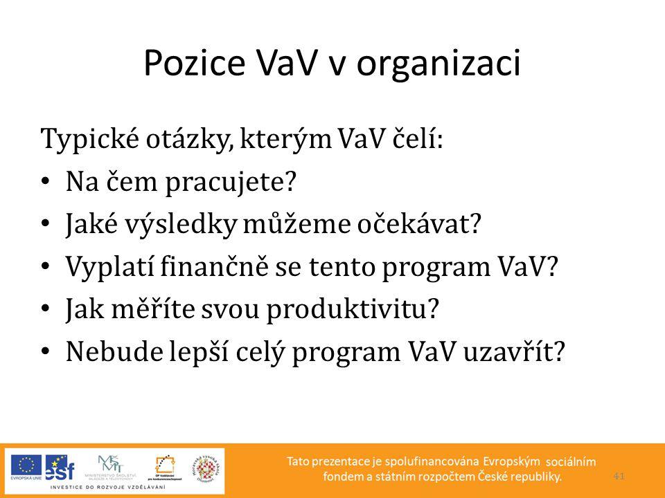 Pozice VaV v organizaci Typické otázky, kterým VaV čelí: • Na čem pracujete? • Jaké výsledky můžeme očekávat? • Vyplatí finančně se tento program VaV?