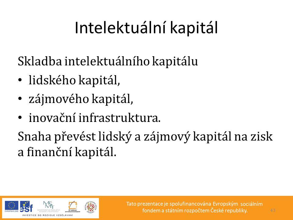 Intelektuální kapitál Skladba intelektuálního kapitálu • lidského kapitál, • zájmového kapitál, • inovační infrastruktura. Snaha převést lidský a zájm