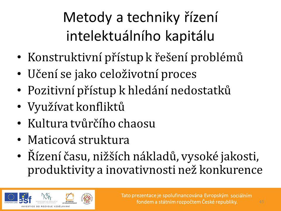Metody a techniky řízení intelektuálního kapitálu • Konstruktivní přístup k řešení problémů • Učení se jako celoživotní proces • Pozitivní přístup k h