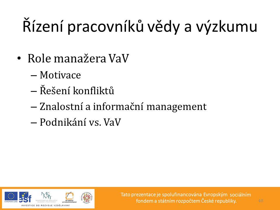 Řízení pracovníků vědy a výzkumu • Role manažera VaV – Motivace – Řešení konfliktů – Znalostní a informační management – Podnikání vs. VaV 48