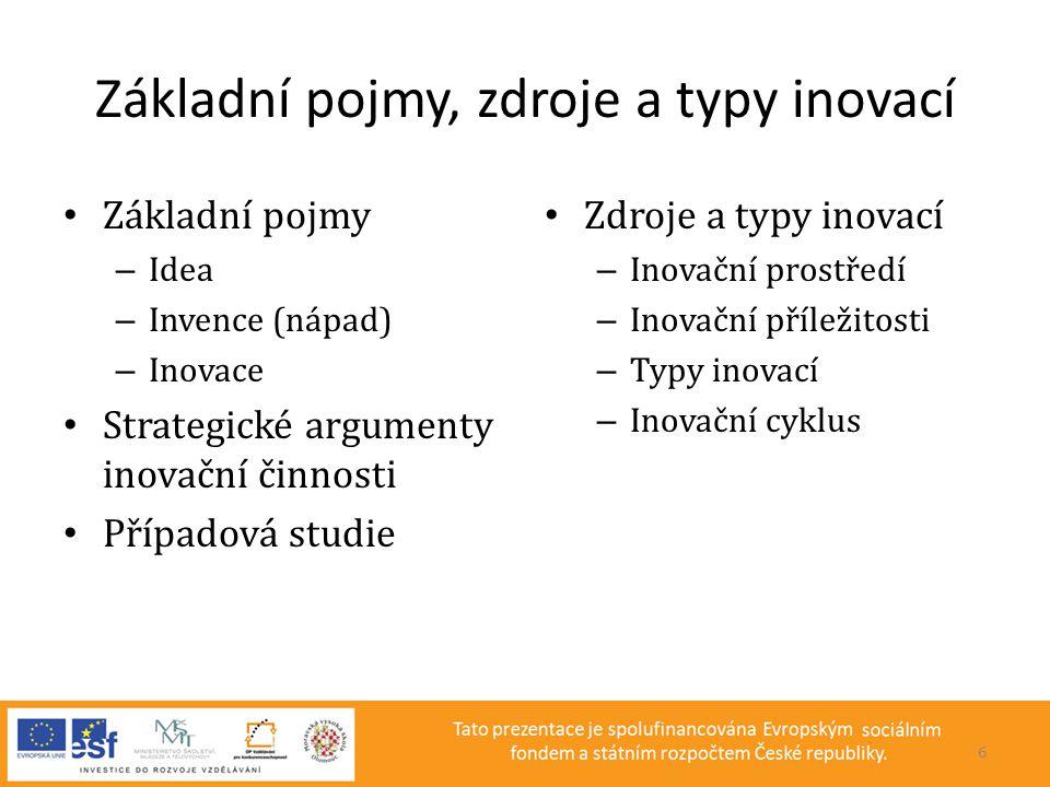 Základní pojmy, zdroje a typy inovací • Základní pojmy – Idea – Invence (nápad) – Inovace • Strategické argumenty inovační činnosti • Případová studie