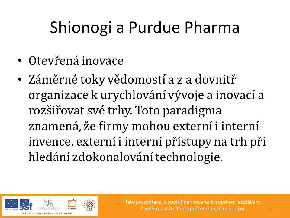 Shionogi a Purdue Pharma • Otevřená inovace • Záměrné toky vědomostí a z a dovnitř organizace k urychlování vývoje a inovací a rozšiřovat své trhy. To