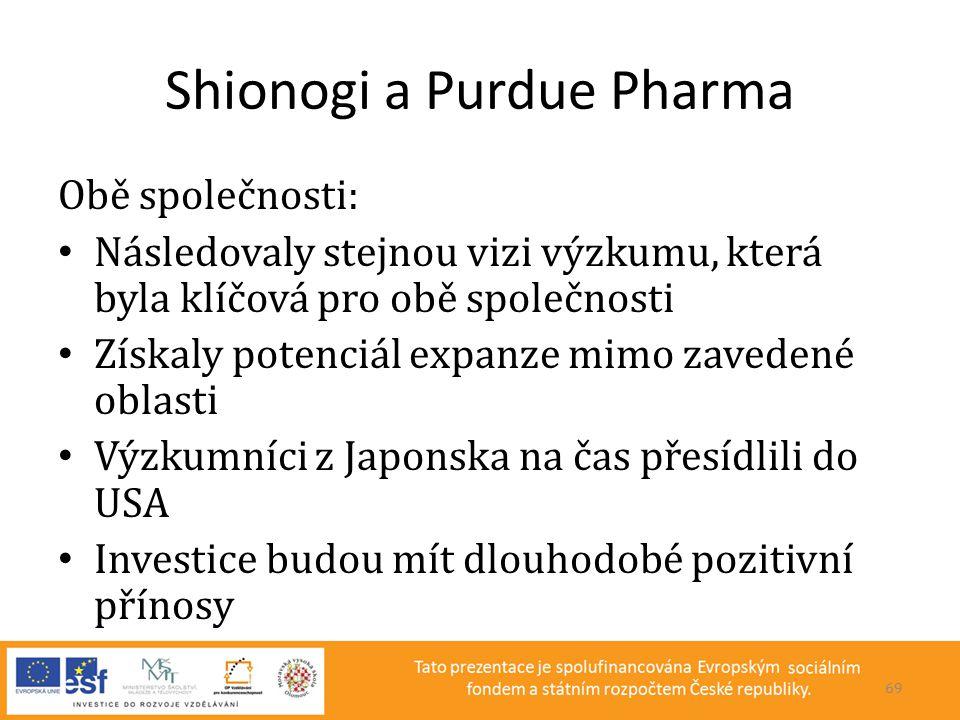 Shionogi a Purdue Pharma Obě společnosti: • Následovaly stejnou vizi výzkumu, která byla klíčová pro obě společnosti • Získaly potenciál expanze mimo