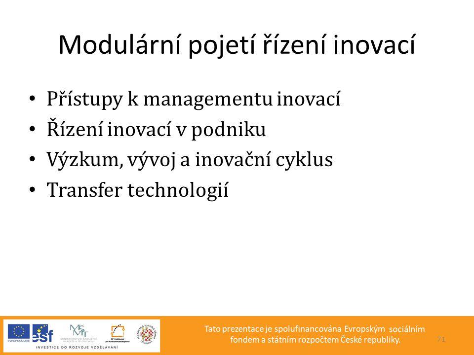 Modulární pojetí řízení inovací • Přístupy k managementu inovací • Řízení inovací v podniku • Výzkum, vývoj a inovační cyklus • Transfer technologií 7