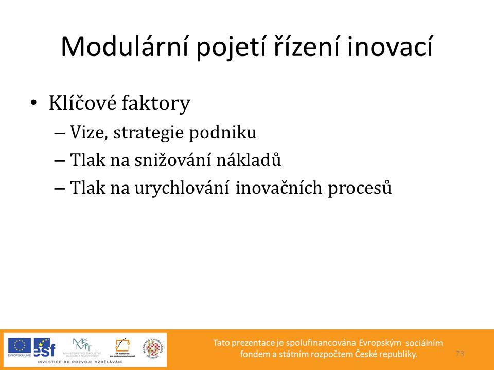 Modulární pojetí řízení inovací • Klíčové faktory – Vize, strategie podniku – Tlak na snižování nákladů – Tlak na urychlování inovačních procesů 73