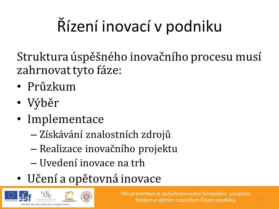Řízení inovací v podniku Struktura úspěšného inovačního procesu musí zahrnovat tyto fáze: • Průzkum • Výběr • Implementace – Získávání znalostních zdr