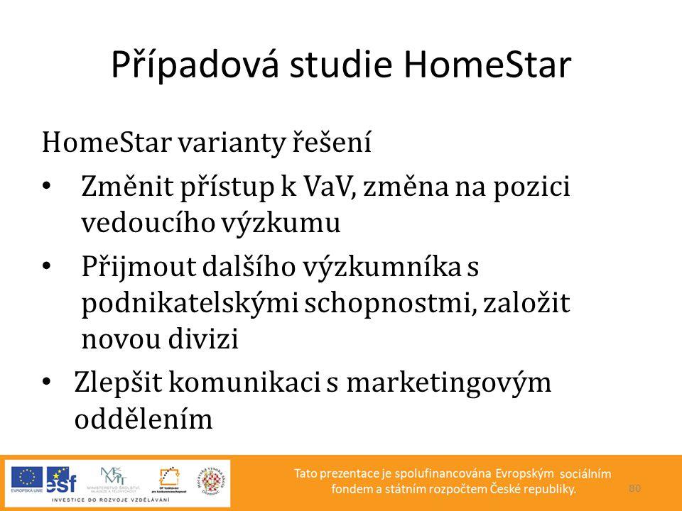 Případová studie HomeStar HomeStar varianty řešení • Změnit přístup k VaV, změna na pozici vedoucího výzkumu • Přijmout dalšího výzkumníka s podnikate
