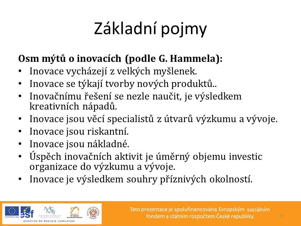 Základní pojmy Osm mýtů o inovacích (podle G. Hammela): • Inovace vycházejí z velkých myšlenek. • Inovace se týkají tvorby nových produktů.. • Inovačn