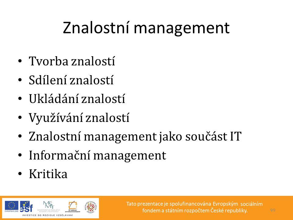 Znalostní management • Tvorba znalostí • Sdílení znalostí • Ukládání znalostí • Využívání znalostí • Znalostní management jako součást IT • Informační
