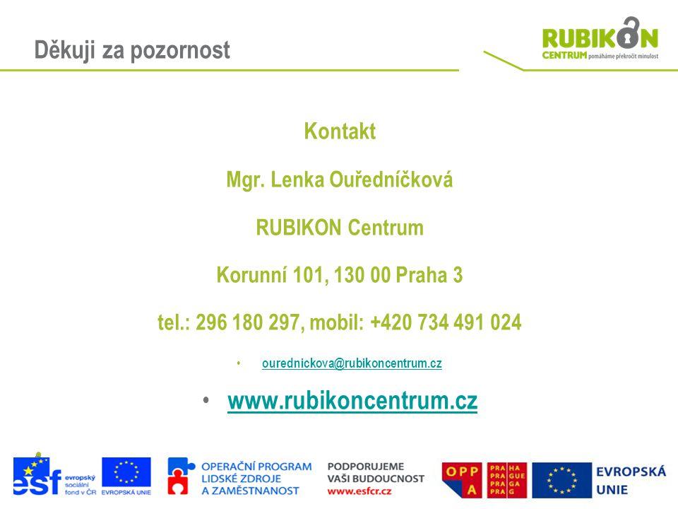Děkuji za pozornost Kontakt Mgr. Lenka Ouředníčková RUBIKON Centrum Korunní 101, 130 00 Praha 3 tel.: 296 180 297, mobil: +420 734 491 024 • ourednick