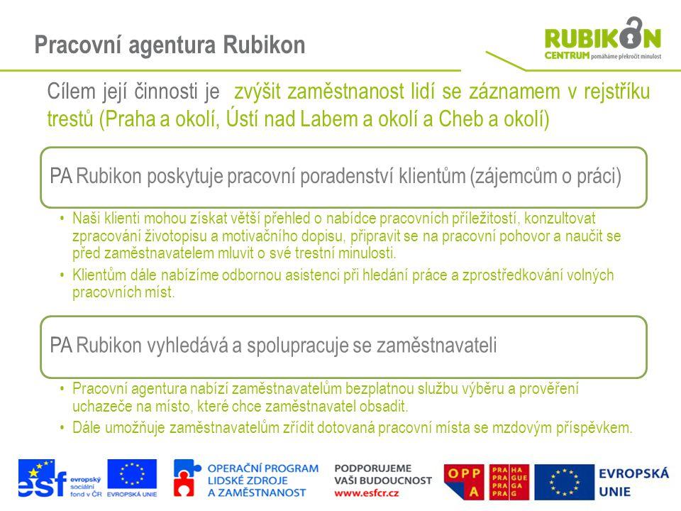 Pracovní agentura Rubikon Cílem její činnosti je zvýšit zaměstnanost lidí se záznamem v rejstříku trestů (Praha a okolí, Ústí nad Labem a okolí a Cheb