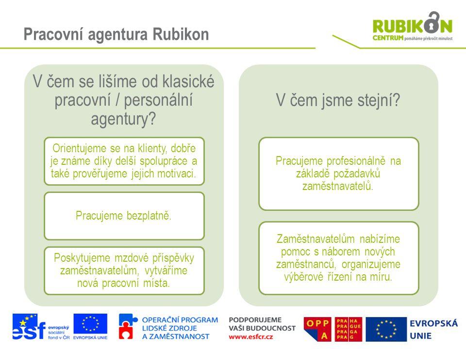 Pracovní agentura Rubikon V čem se lišíme od klasické pracovní / personální agentury? Orientujeme se na klienty, dobře je známe díky delší spolupráce