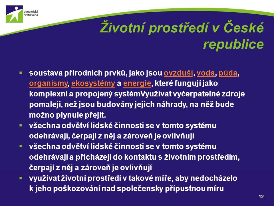 Životní prostředí v České republice  soustava přírodních prvků, jako jsou ovzduší, voda, půda, organismy, ekosystémy a energie, které fungují jako ko